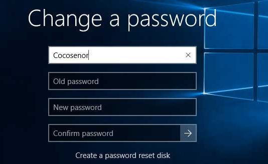 How to change password on windows 10